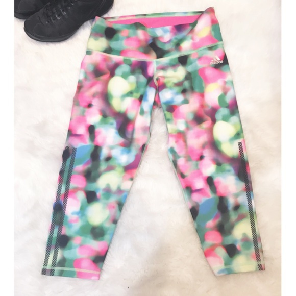 Adidas Pants Jumpsuits Adidas Multicolor Crop Climalite Leggings Poshmark